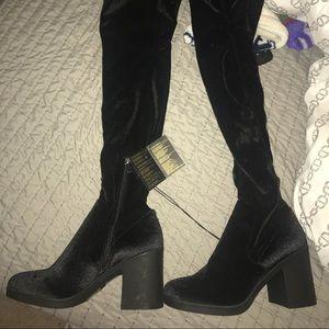 Over The Knee High Black Velvet Boots